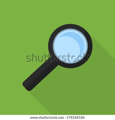 Search Flat Icon Illustrator. Search flat design use for web and mobile. Flat icon style of search on green background. - stock vector