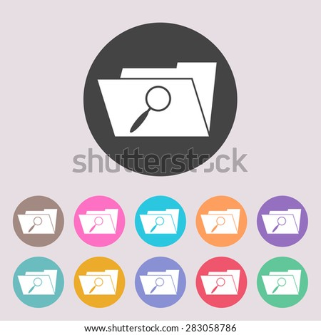 Search Folder Icon. Set of colored icons. - stock vector