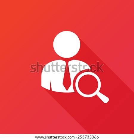 Search for job symbol with magnifying glass in modern flat design. Eps10 vector illustration - stock vector