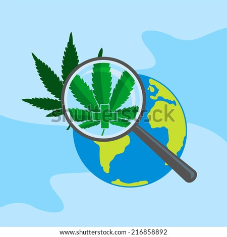 Search for medical marijuana all around the world. - stock vector
