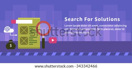 Search for solution concept design. Solution concept, idea and service, business solutions, innovation strategy, development and information, analytics data, office marketing illustration - stock vector