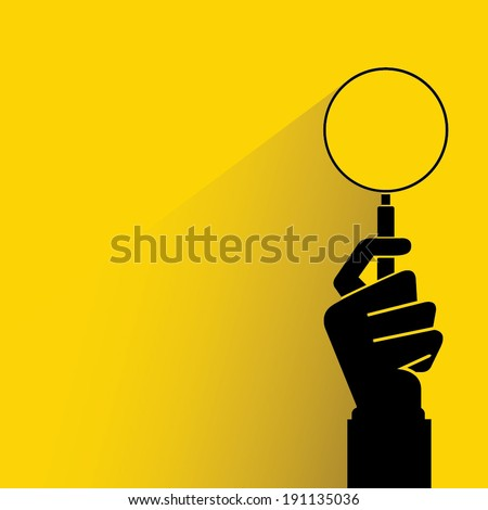 search, hand holding magnifier glass - stock vector