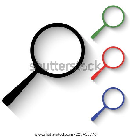 search icon - black and colored (green, red, blue) illustration with shadow - stock vector