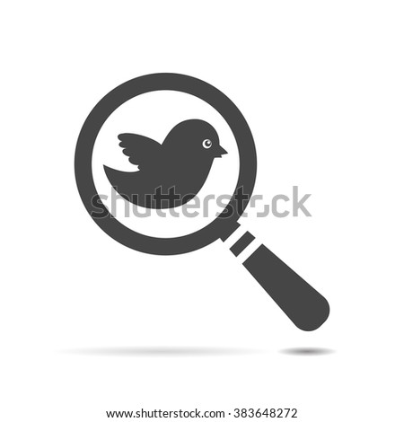 search icon with flat black bird - stock vector