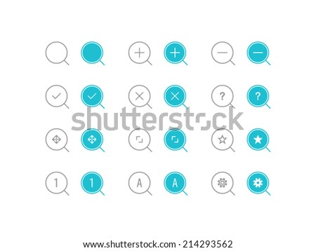 Search Icons set. Trendy thin icons for web and mobile. Line and full versions. Normal and enable state - stock vector