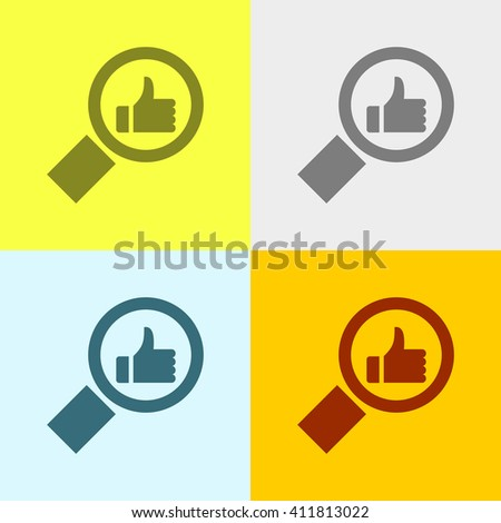Search & like Icon on Four Different Backgrounds. Eps-10. - stock vector
