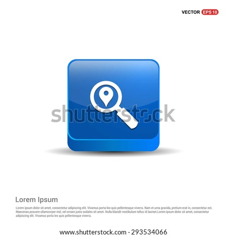 search location icon - abstract logo type icon - blue 3d button background. Vector illustration - stock vector