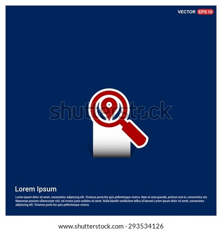 search location icon - abstract logo type icon - Red & white sticker icon on blue background. Vector illustration - stock vector