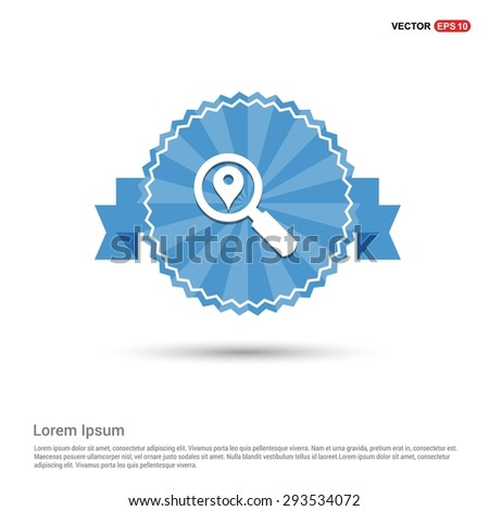 search location icon - abstract logo type icon - Retro vintage badge and label Blue background. Vector illustration - stock vector