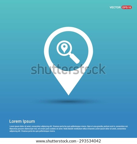 search location icon - abstract logo type icon - white icon in map pin point blue background. Vector illustration - stock vector