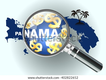 Search money in offshore. Magnifying glass illustration, design over a Panama map. Vector illustration financial concept. - stock vector