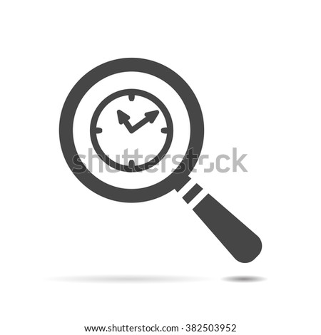 search of 24 hour assistance flat icon,  clock search icon design on white Background - stock vector