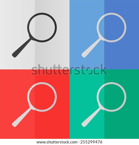 Search vector icon. Effect of folded paper. Colored (red, blue, green) illustrations. Flat design - stock vector