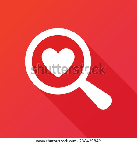 Searching A Love. Flat icon design with long shadow - stock vector