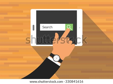 searching concept use tab or pad mobile platform - stock vector