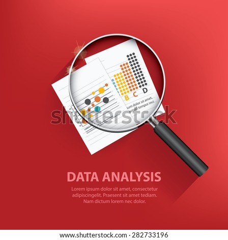 Searching data analysis,business concept design on red background,clean vector - stock vector