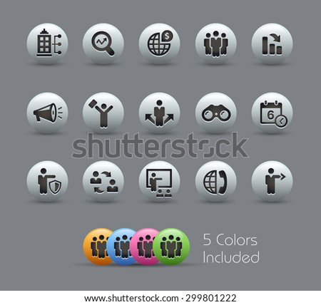 Searching Opportunities and Business Strategies // Pearly Series ----- The Vector file includes 5 color versions for each icon in different layers ----- - stock vector