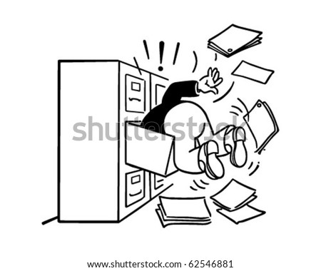 Searching Filing Cabinet Retro Clipart Illustration Stock