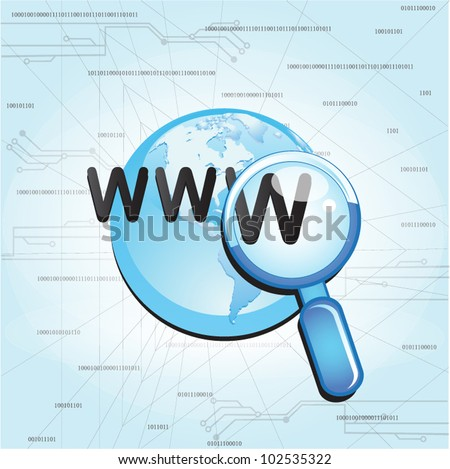 Searching the  globe internet with magnifying glass - stock vector