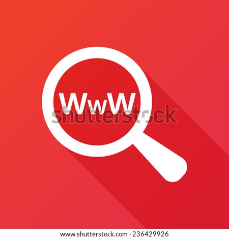 Searching Website. Search The Web. Flat icon design with long shadow - stock vector