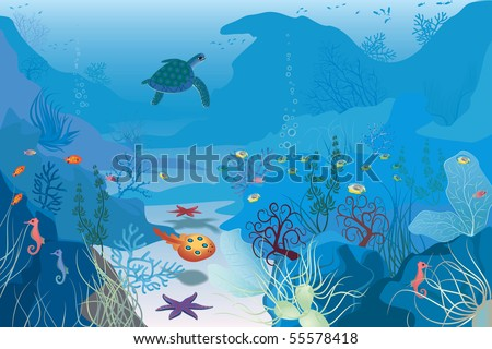 Seascape - stock vector
