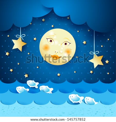 Seascape and moon, vector - stock vector