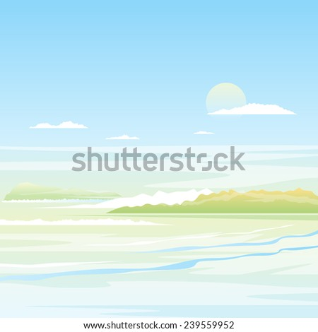 Seascape background with green islands in light colors, nature illustration - stock vector