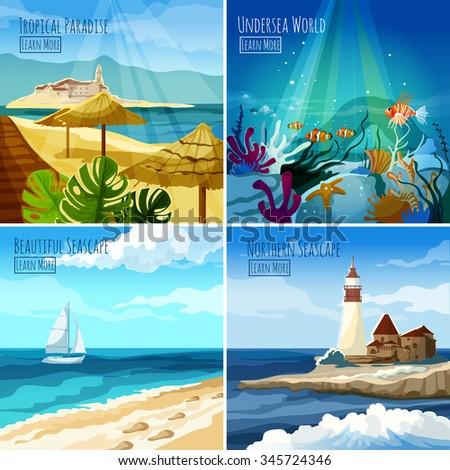 Seascape design concept set with tropical paradise and undersea world icons isolated vector illustration - stock vector