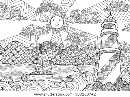 Seascape line art design for coloring book for adult, anti stress coloring - stock vector - stock vector