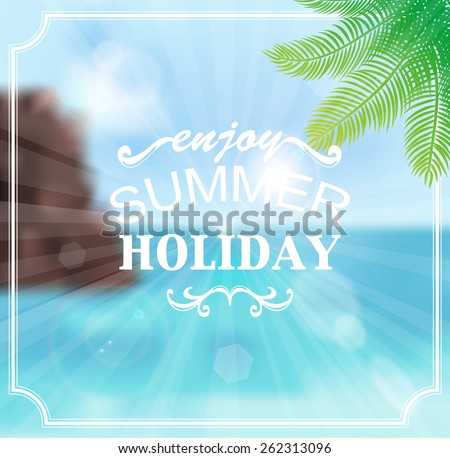 Seascape summer holiday vector background - stock vector