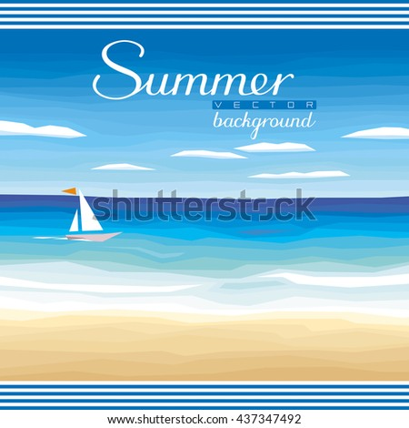 Seascape vector background - tropical sand beach, ocean, sky for summer events and advertising - stock vector