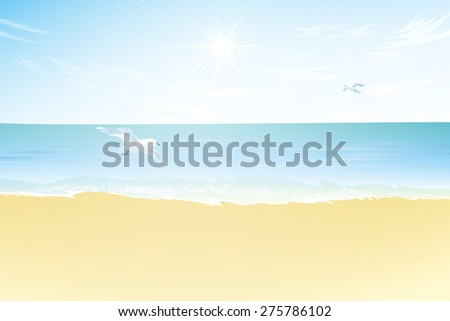 Seascape vector illustration. Paradise beach with sea and seagull. Tropical landscape - stock vector