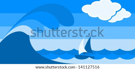 seascape with boat in blue - stock vector