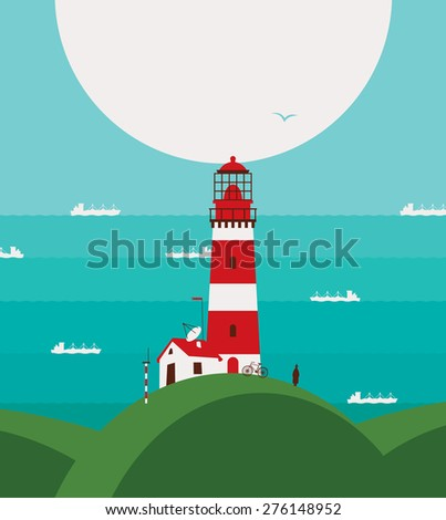 seascape with lighthouse on the hill and ships - stock vector