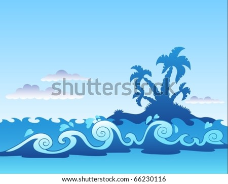 Seascape with palm island and waves - vector illustration. - stock vector