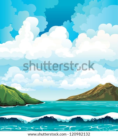 Seascape with waves and green islands on a blue cloudy sky background - stock vector
