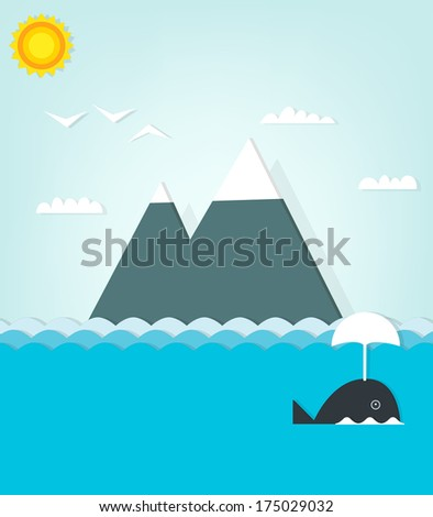 seascape with whale - stock vector