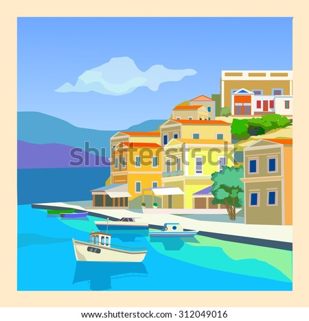 Seascape with yacht and countryside home. Presumably the Mediterranean. - stock vector