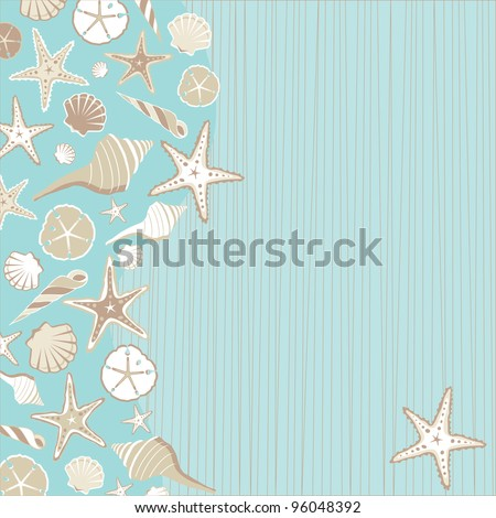 Seashell Beach party invitation       with a variety of shells on an aqua teal stria background wtih a whimsical beach or tropical feel and plenty of room for your party info - stock vector