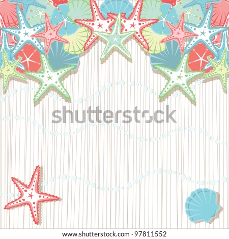 Seashell Beach Party Invitations.  Soft colored seashells in shades of coral and aqua against a textured background and sea foam bubbles. Plenty of room for your party info. - stock vector