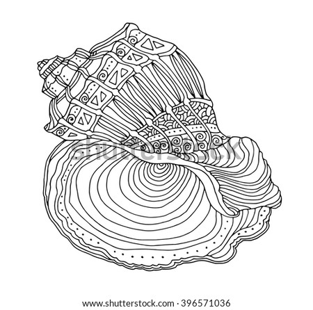 Seashell isolated on white. Vector illustration. Zentangle artwork. Coloring book page for adult. Hand drawn artwork. Beach concept for restaurant menu card, ticket, branding, logo label. Black, white - stock vector