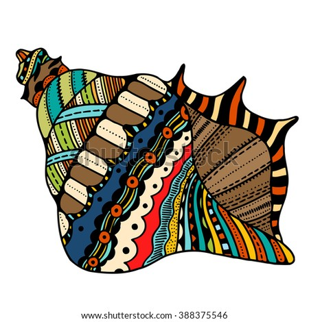 Seashell. Zentangle Vector illustration, isolated on white