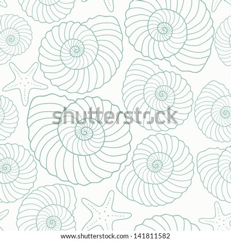 Seashells and star fishes pattern, seamless wallpaper - stock vector