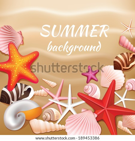 Seashells and stars on the beige sand summer background vector illustration