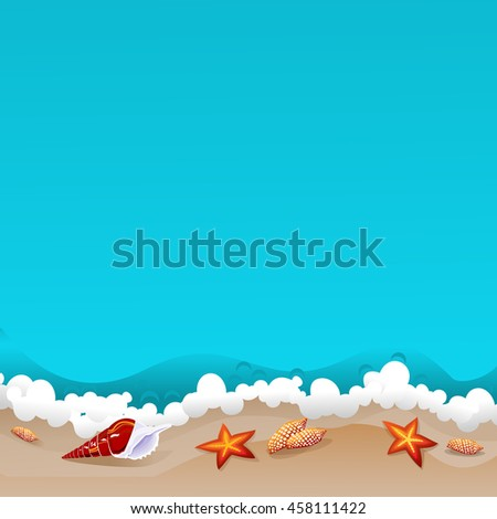 Seashells at the beach. Summer tropical background with azure ocean waves. Copy space. Vector illustration. - stock vector