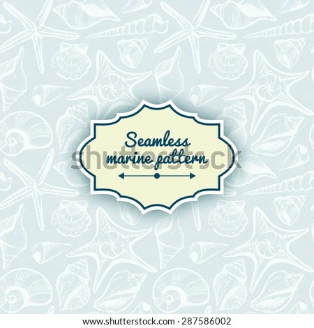seashells seamless pattern vintage vector summer background illustration - stock vector