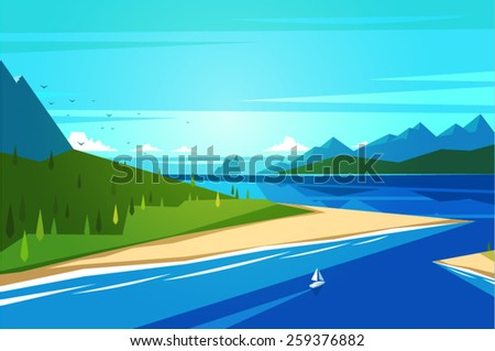 Seashore landscape. Vector illustration. - stock vector