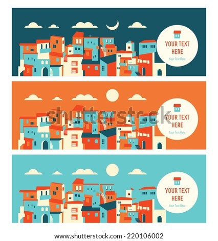 seaside city in day and night landscape - stock vector