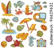 Seaside doodles - Hand drawn collection in vector - stock vector