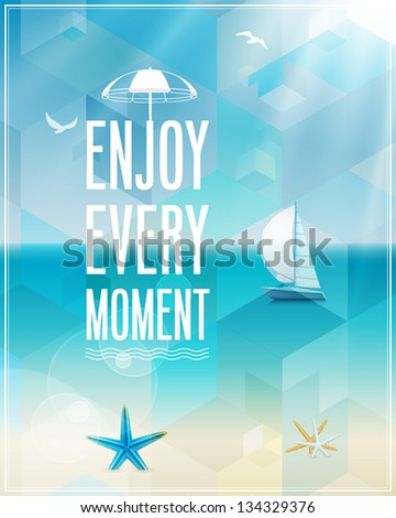 Seaside view poster. Vector background. - stock vector